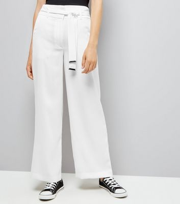 White Tie High Waisted Wide Leg Trousers