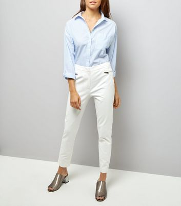 White Zip Trim Trousers