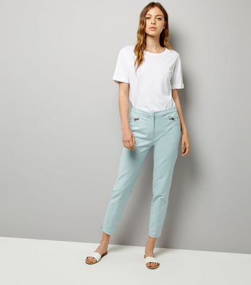Mint Green Premium Zip Trim Trousers