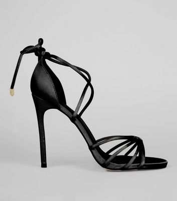 Black Satin Tie Up Heeled Sandals