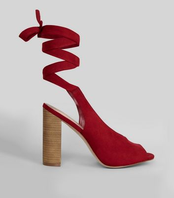 Red Suedette Peep Toe Tie Up Block Heels