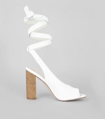 White Peep Toe Tie Up Block Heels