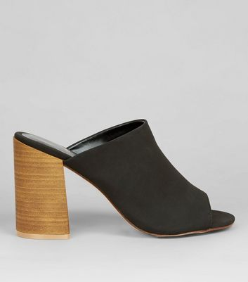 Black Contrast Stacked Heeled Mules