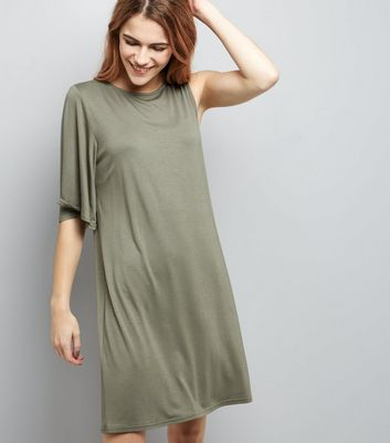 Khaki Single Sleeve Jersey T-Shirt Dress