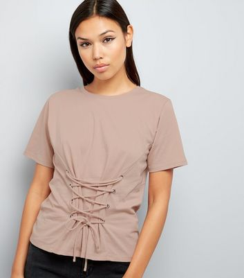 Light Brown Lace Up Corset T-Shirt