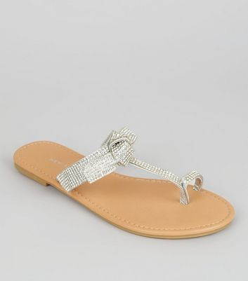 Silver Crystal Bow Top Toe Post Sandals