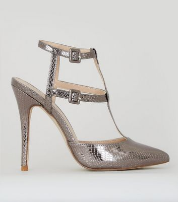 Pewter Snakeskin Texture Pointed Gladiator Heels