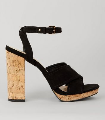 Black Suedette Cross Strap Cork Block Heels