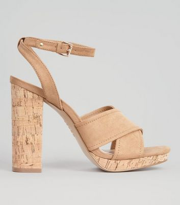 Tan Suedette Cross Strap Cork Block Heels