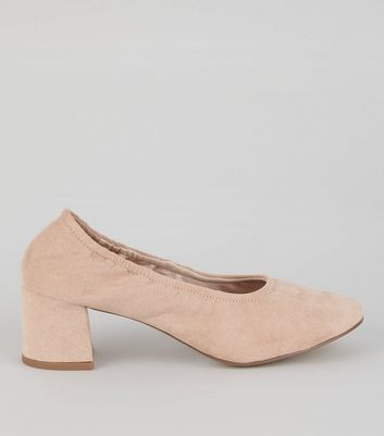 Pink Suedette Elasticated Block Heels