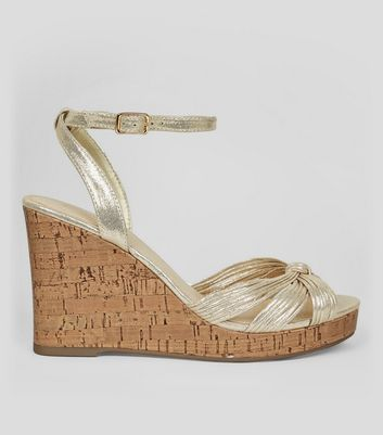 Gold Knot Front Cork Wedge Heels