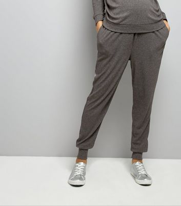 Maternity Grey Brushed Jersey Sateen Trim Joggers
