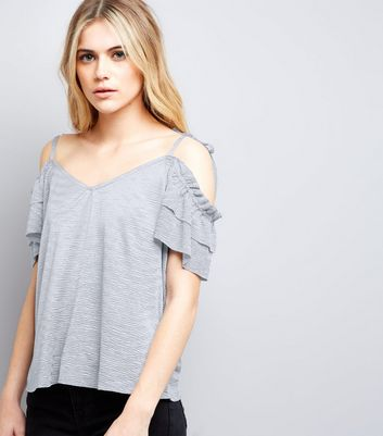 Lilac Frill Trim Cold Shoulder Top