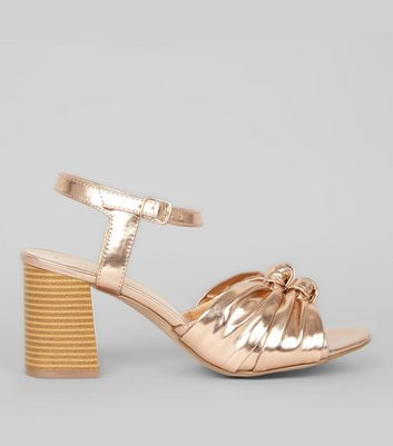Rose Gold Knot Front Heeled Sandals