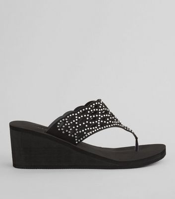 Black Diamante Strap Wedged Flip Flops