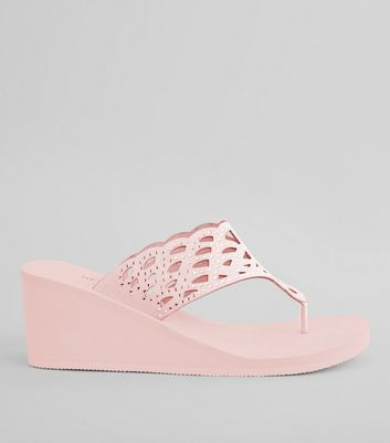 Pink Diamante Strap Wedged Flip Flops
