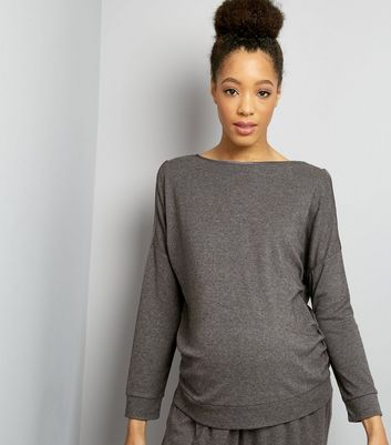 Maternity Grey Brushed Jersey Cold Shoulder Sweater