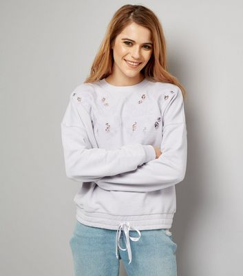 Purple Cut Out Embroidered Drawstring Hem Sweater