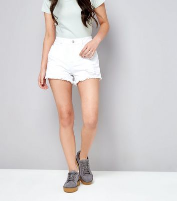Teens White Ripped Denim Shorts