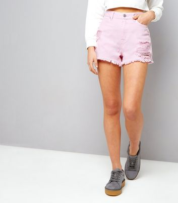 Teens Bright Pink Ripped Denim Shorts
