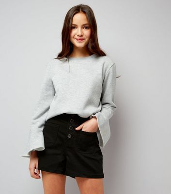 Teens Black High Waist Denim Shorts