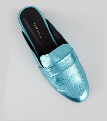 Blue Metallic Textured Loafer Mules