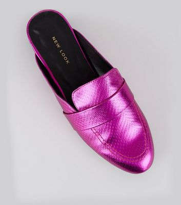 Pink Metallic Textured Loafer Mules
