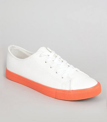 Orange Sole Contrast Lace Up Trainers