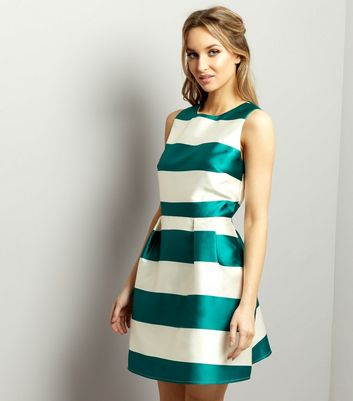 White Sateen Contrast Stripe Shift Dress