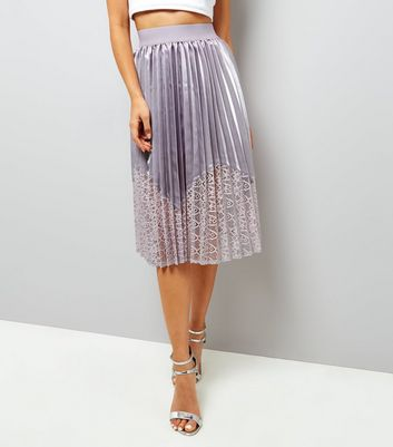 Mink Satin Pleated Midi Skirt