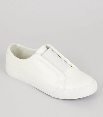Teens White Elasticated Strap Front Plimsolls