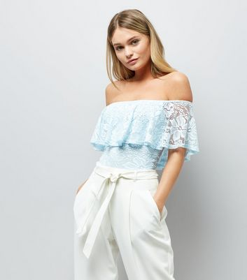 Blue Lace Frill Trim Bardot Neck Bodysuit