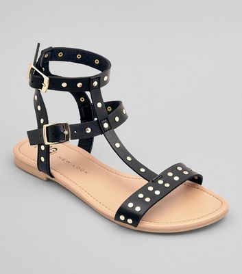 Teens Black Stud Strap Gladiator Sandals