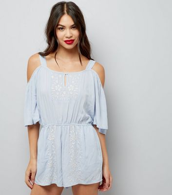 Pale Blue Embroidered Cold Shoulder Playsuit
