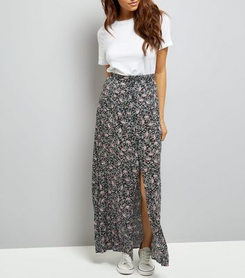 Black Ditsy Floral Button Front Maxi Skirt