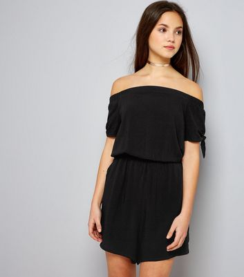 Teens Black Bardot Neck Tie Sleeve Playsuit