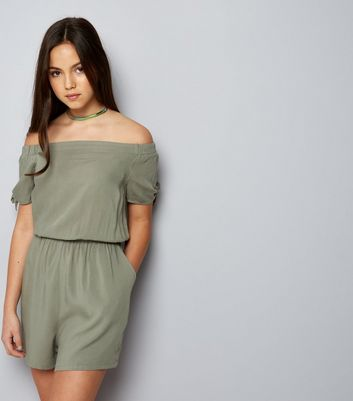 Teens Khaki Bardot Neck Tie Sleeve Playsuit