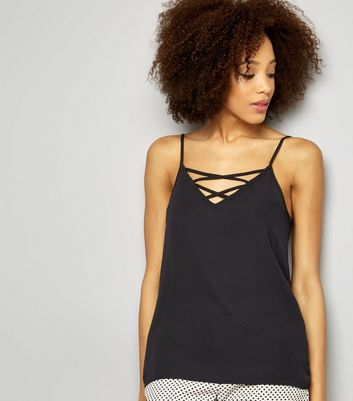 Black Lattice Front Woven Cami Top