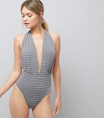 Black Gingham Plunge Swimsuit