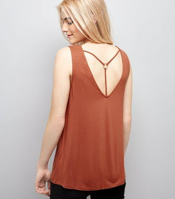 Light Brown Ring Trim Strap Back Vest