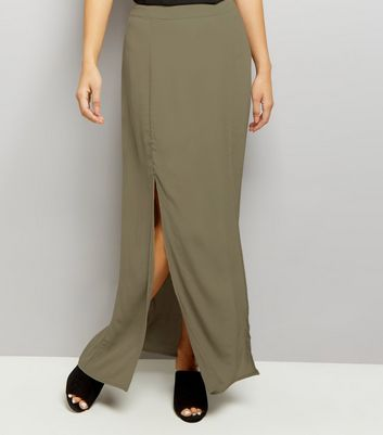 Khaki Split Side Maxi Skirt