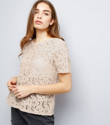 Shell Lace Short Sleeve Lattice Back Top