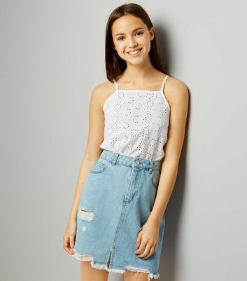 Teens Blue Denim Ripped Skirt