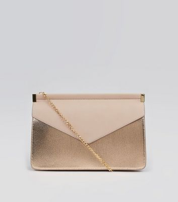 Rose Gold Chain Strap Clutch Bag