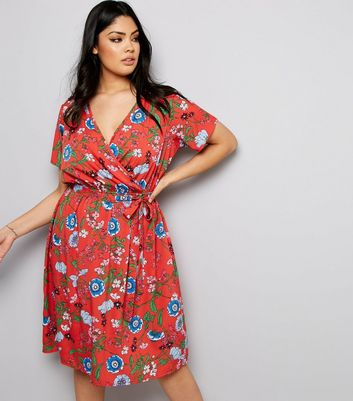 Curves Red Floral Print Wrap Front Dress