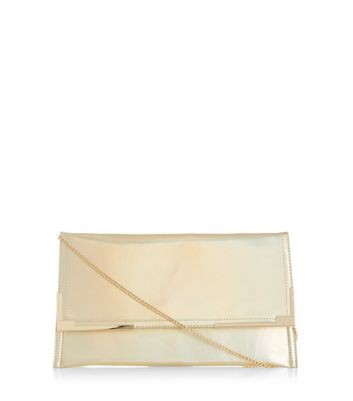 Gold Iridescent Metal Trim Clutch