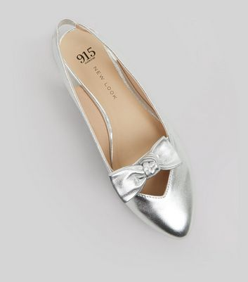 Teens Silver Bow Front Sling Backs