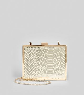 Gold Snakeskin Textured Box Clutch