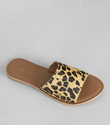 Stone Leopard Print Leather Mules