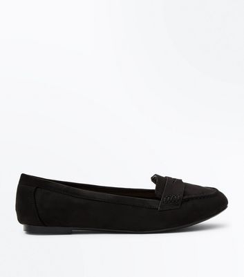 Wide Fit – Schwarze Loafers aus Wildlederimitat
